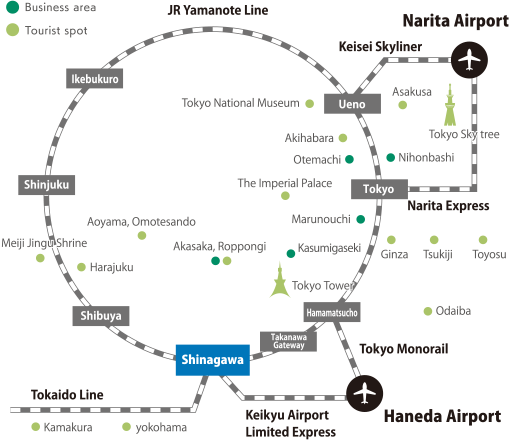 Route map from airports